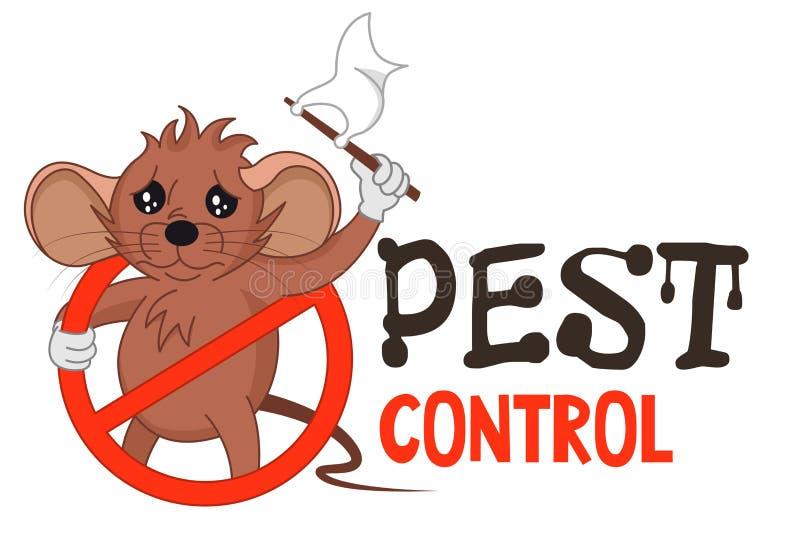 Смешная иллюстрация вектора логотипа службы борьбы с грызунами и паразитами для дела окуривания Шуточная запертая мышь сдается Ди иллюстрация вектора