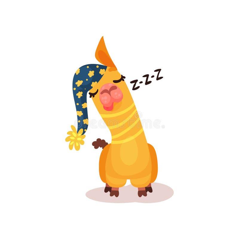 Смешная иллюстрация вектора спать персонажа из мультфильма альпаки ламы на белой предпосылке иллюстрация вектора