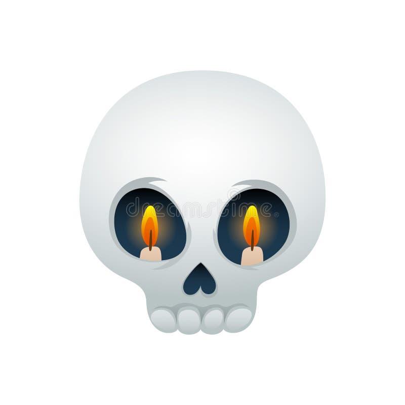 Смешная иллюстрация вектора черепа - глаза с свечами иллюстрация штока