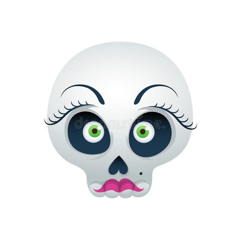 Смешная иллюстрация вектора черепа - красивая дама иллюстрация штока