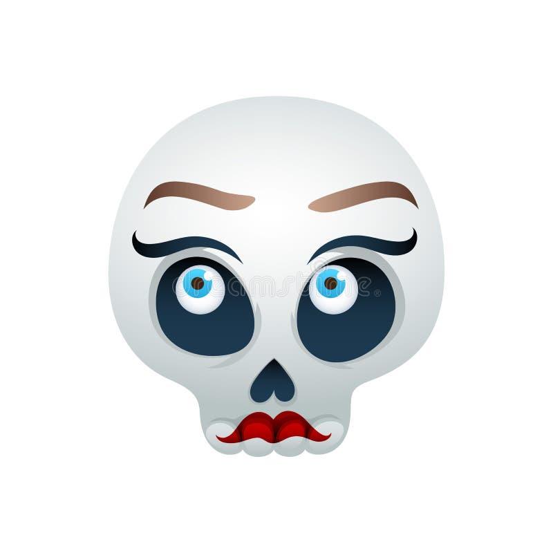 Смешная иллюстрация вектора черепа - красивая дама иллюстрация вектора