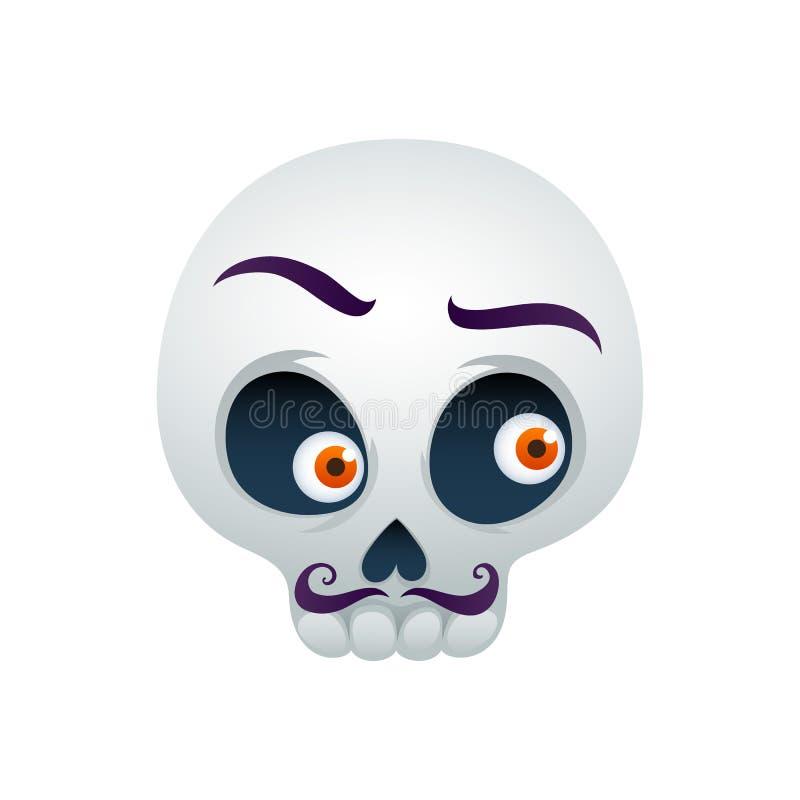 Смешная иллюстрация вектора черепа - человек с усиками бесплатная иллюстрация