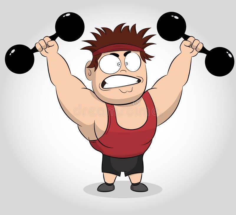 Смешная иллюстрация мультфильма мышечного парня держащ гантели Подходящий мышечный человек работая с гантелями иллюстрация вектора