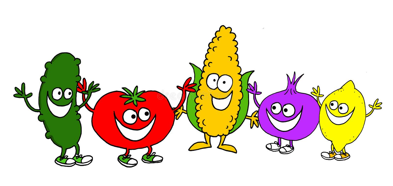 Смешная иллюстрация различных овощей и некоторого плода со сторонами и протягиванных оружий бесплатная иллюстрация