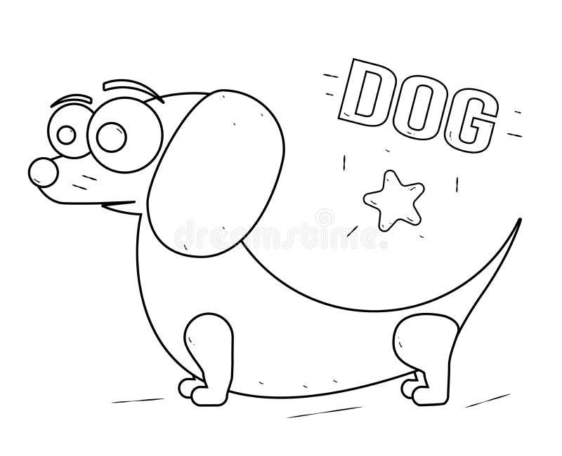 Смешная и дружелюбная собака шаржа Книжка-раскраска для детей чертеж черноты полосы перемежения выходит линии tendrils завода кар бесплатная иллюстрация