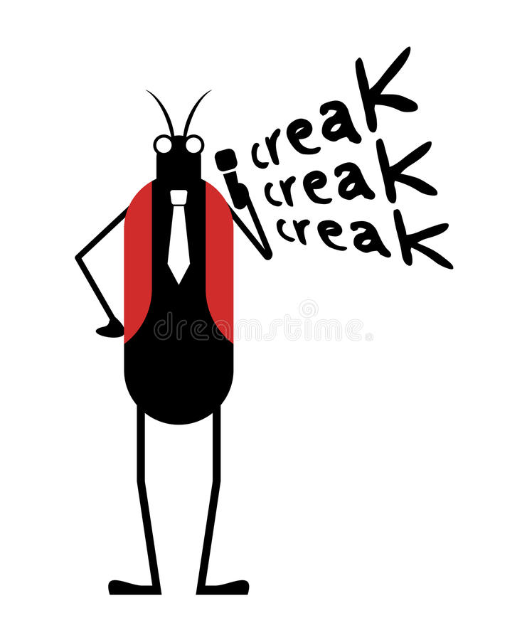 Смешная иллюстрация насекомого сверчка иллюстрация вектора
