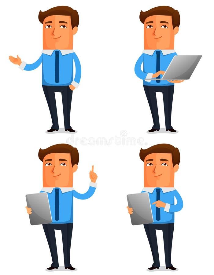 Смешная иллюстрация шаржа молодого бизнесмена иллюстрация вектора