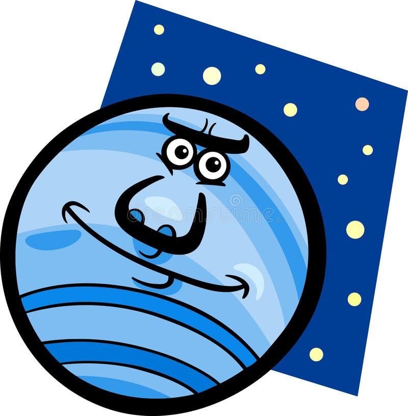 Смешная иллюстрация шаржа планеты Нептуна иллюстрация вектора