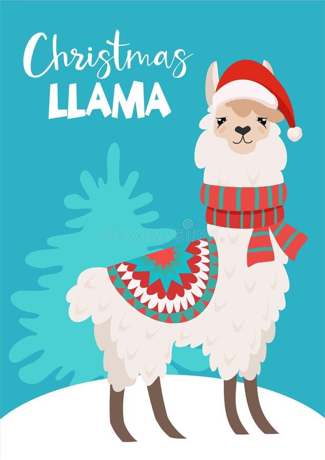 Смешная карта зимы с иллюстрацией рождества вектора ламы мультфильма с текстом Плакат ` s Нового Года иллюстрация штока