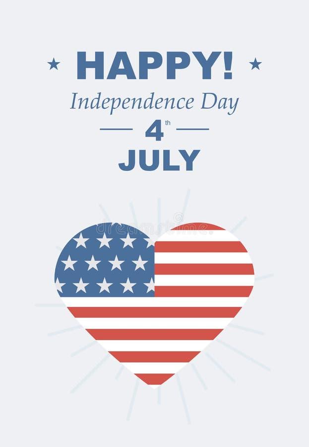 Смешная карточка счастливая 4-ое -го июль иллюстрация вектора