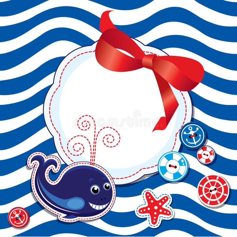 Смешная карточка с китом, кнопками, смычком и пустым fram иллюстрация вектора
