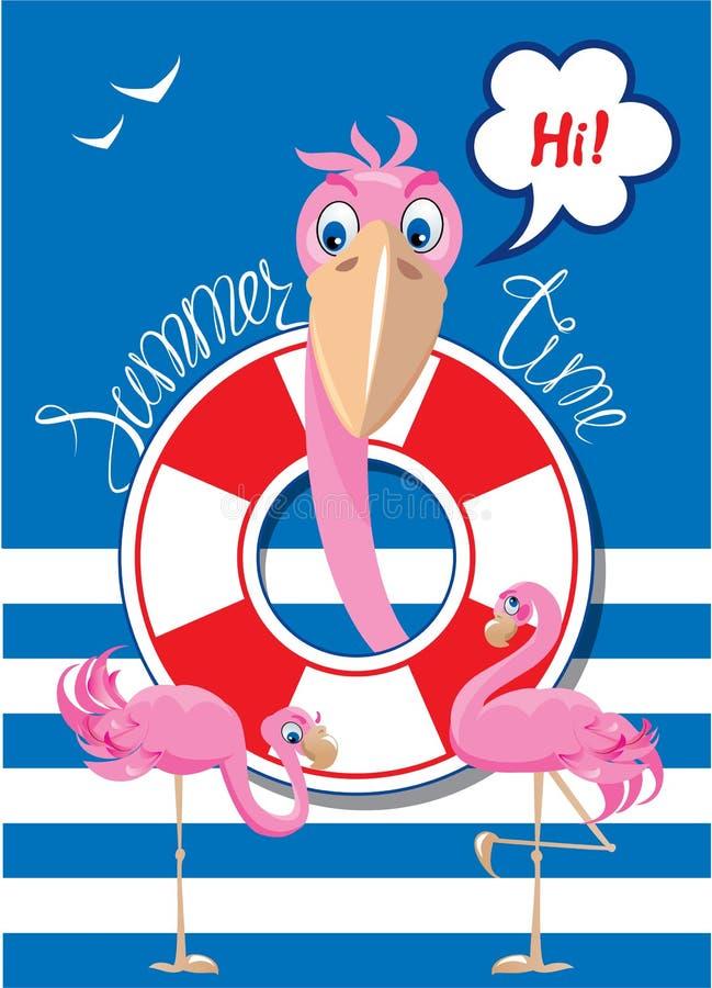 Смешная карточка с розовыми фламинго на предпосылке нашивки иллюстрация вектора