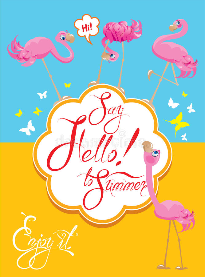 Смешная карточка с розовыми фламинго на свете - сини иллюстрация штока
