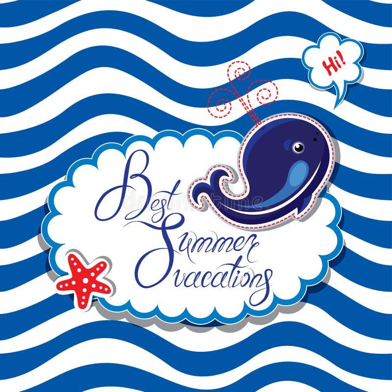 Смешная карточка с синим китом на striped предпосылке Овальное острословие рамки бесплатная иллюстрация