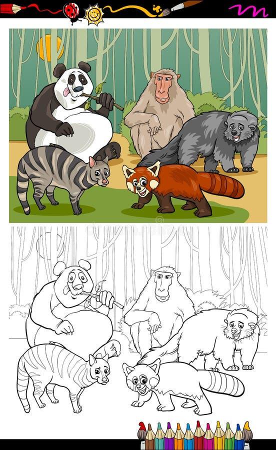 Смешная книжка-раскраска шаржа животных иллюстрация штока