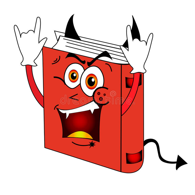 Смешная красная злая книга иллюстрация штока
