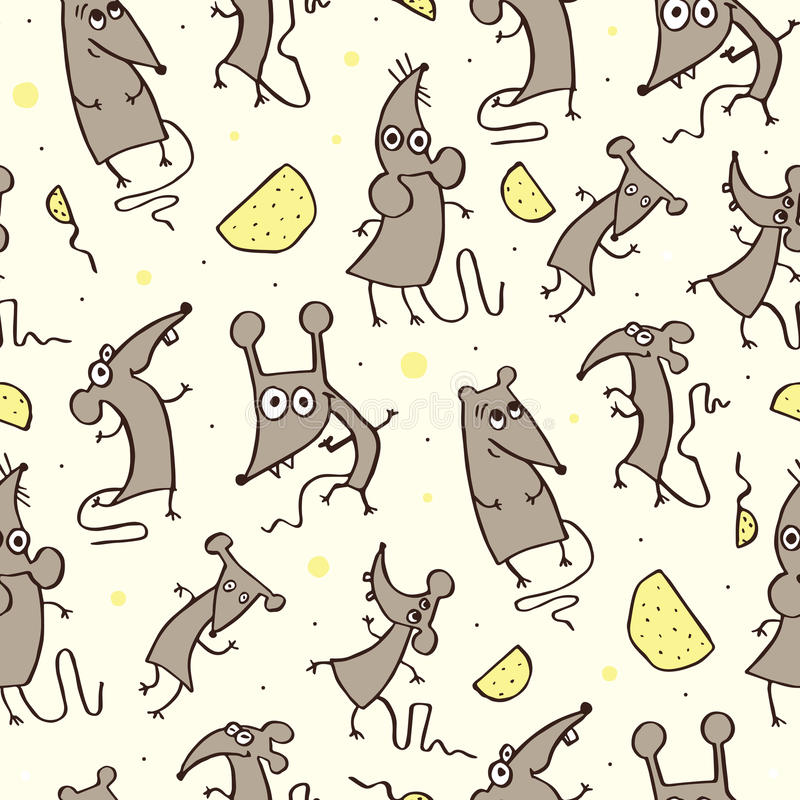 Смешная крыса, безшовная картина иллюстрация штока