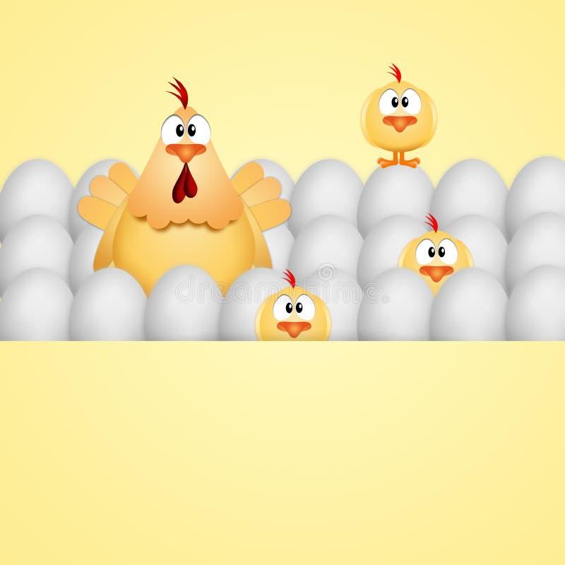 Смешная курица с цыпленоками и яйцами иллюстрация вектора