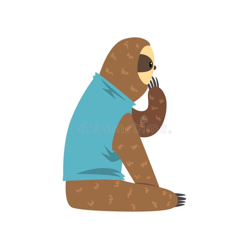 Смешная лень в голубом усаживании футболки, иллюстрациях вектора характера ленивого экзотического тропического леса животных на б бесплатная иллюстрация
