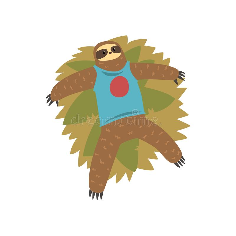 Смешная лень лежа на траве, иллюстрации вектора характера ленивого экзотического тропического леса животные на белой предпосылке иллюстрация штока