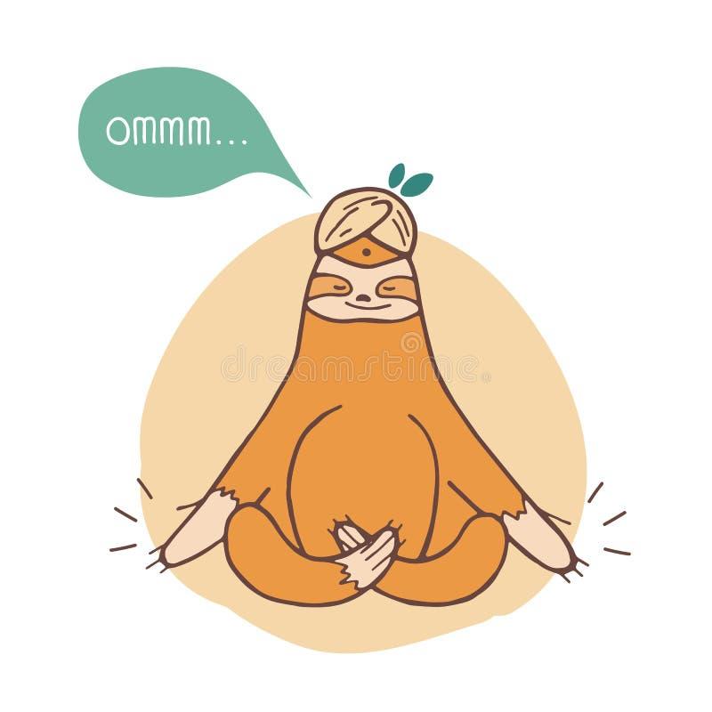 Смешная лень сидя перекрестное шагающее и размышлять Ленивая усмехаясь йога экзотического животного практикуя изолированная на бе бесплатная иллюстрация