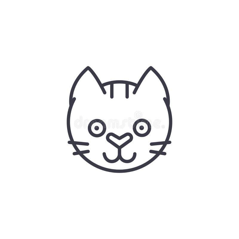 Смешная линия значок вектора головы кота, знак, иллюстрация на предпосылке, editable ходах иллюстрация вектора