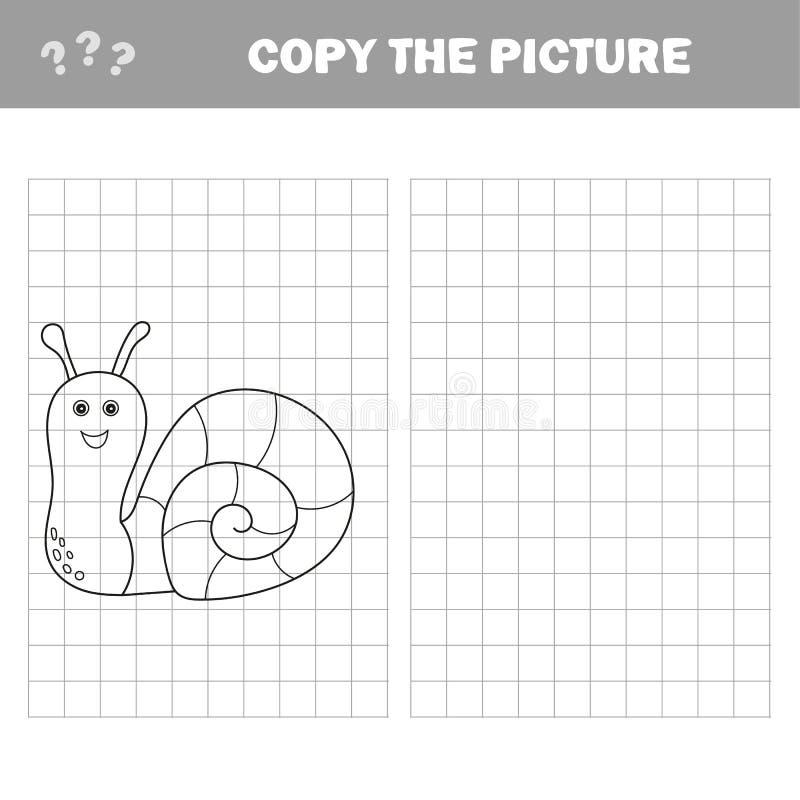 Смешная маленькая улитка Скопируйте изображение r Воспитательная игра иллюстрация штока