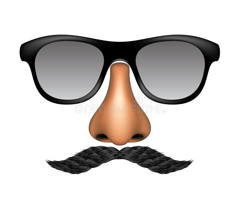 Смешная маска сделанная стекел, усика и носа иллюстрация штока