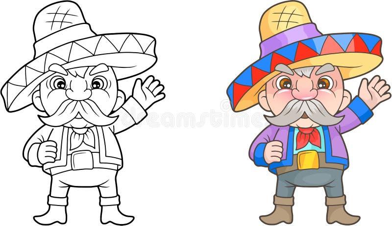 Смешная мексиканская книжка-раскраска книги иллюстрация вектора
