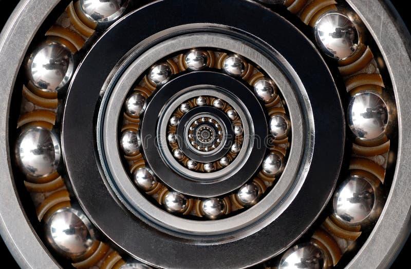 Смешная неимоверная нереалистичная сюрреалистическая промышленная предпосылка картины конспекта спирали шарикоподшипника Спиральн стоковое фото