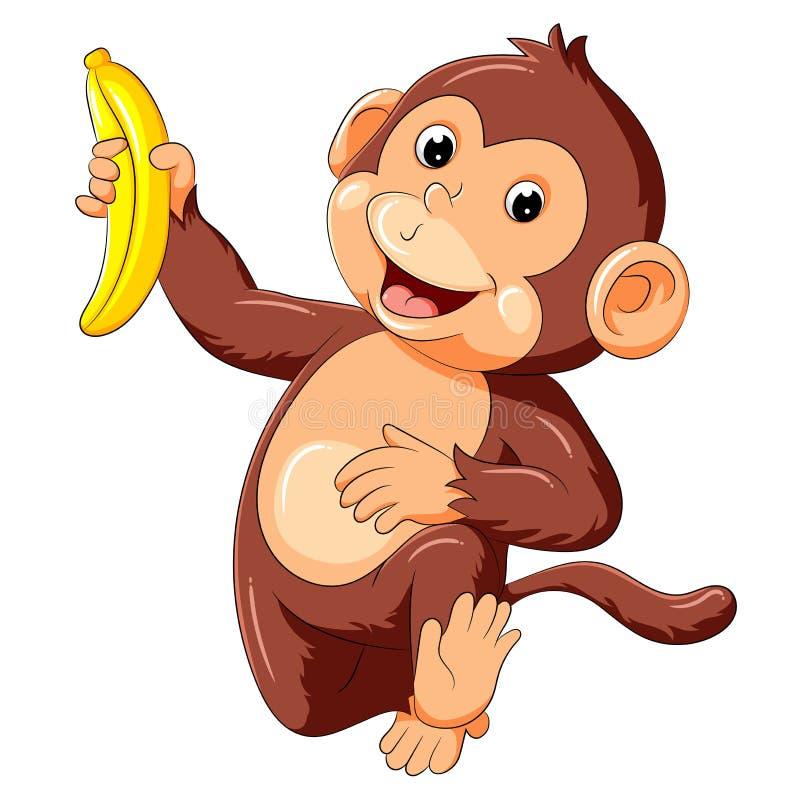 Смешная обезьяна бежать и держа банан иллюстрация вектора