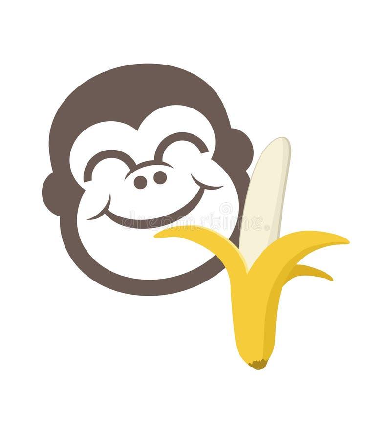 Смешная обезьяна есть бананы иллюстрация вектора