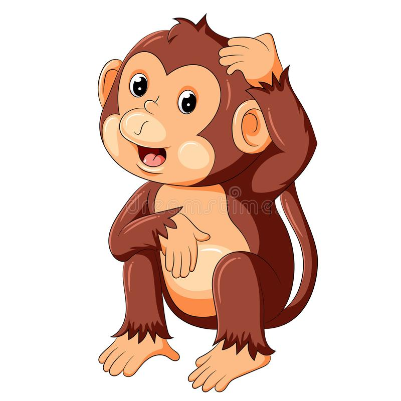 Смешная обезьяна сидя и думая иллюстрация штока
