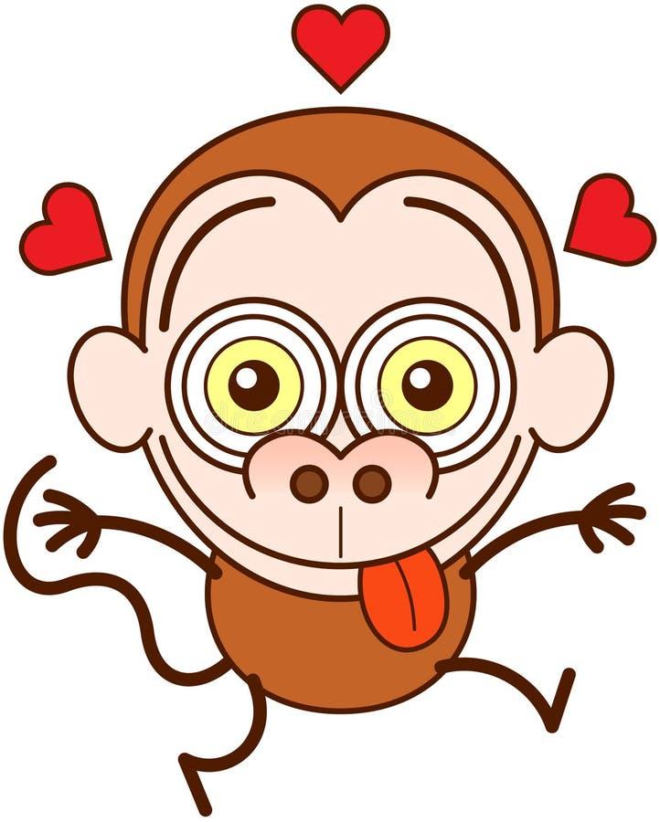 Смешная обезьяна чувствуя сумашедше в влюбленности бесплатная иллюстрация