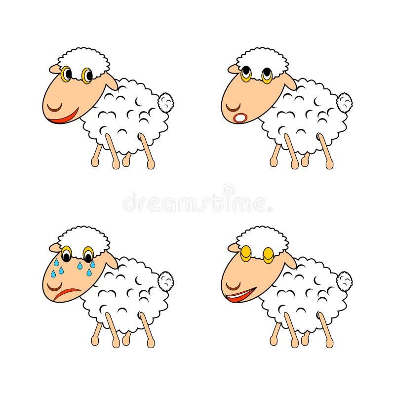 Смешная овца выражая различные эмоции иллюстрация штока