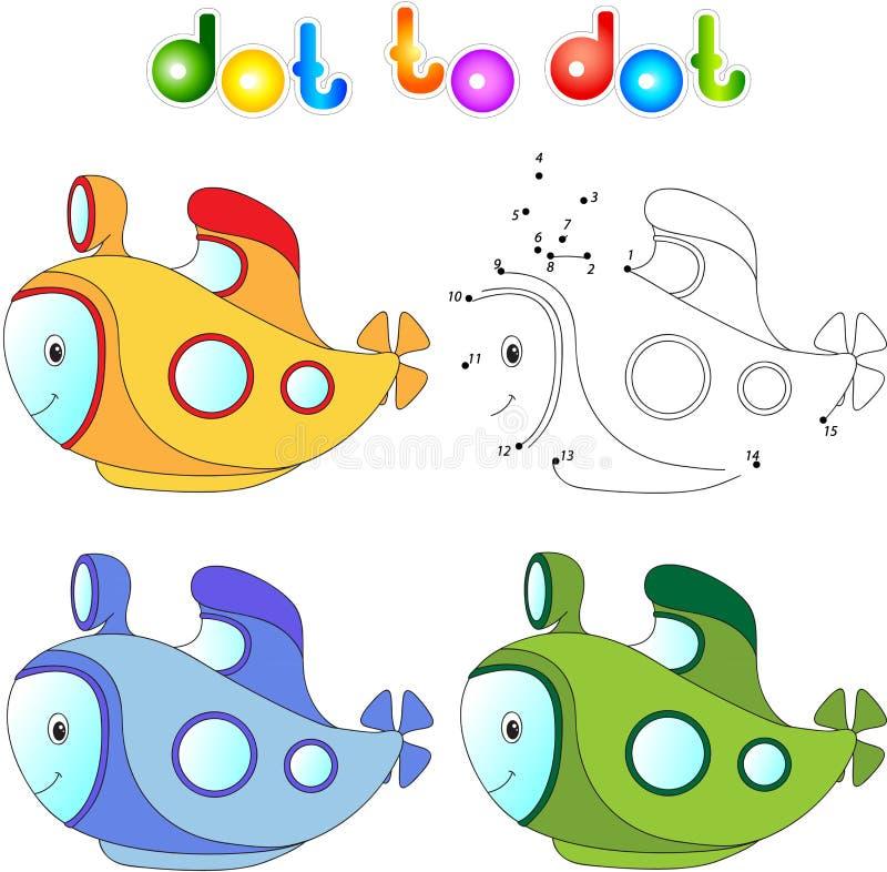 Смешная подводная лодка шаржа Соедините точки и получите изображение воспитательно иллюстрация вектора