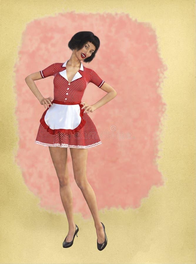 Смешная ретро домохозяйка, предпосылка жены иллюстрация вектора