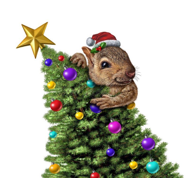 Смешная рождественская елка белки иллюстрация вектора