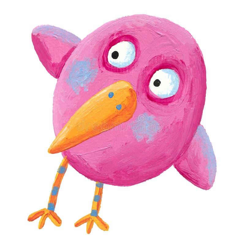 Смешная розовая птица иллюстрация вектора