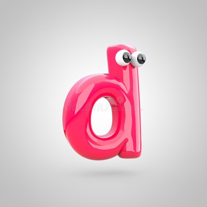 Смешная розовая строчная буква письма d с глазами иллюстрация штока