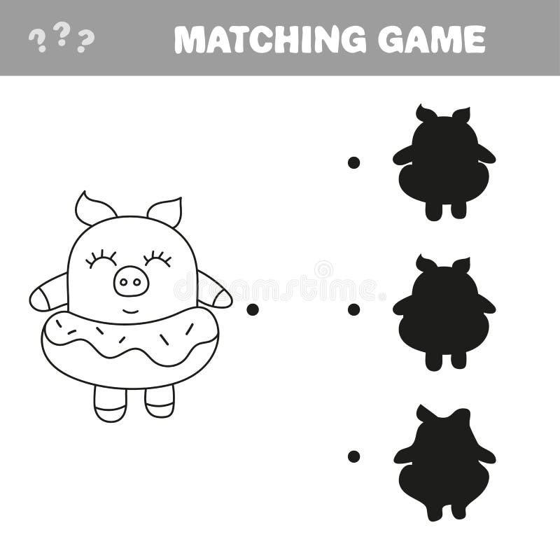 Смешная свинья Игра чертежа книжка-раскраски бесплатная иллюстрация