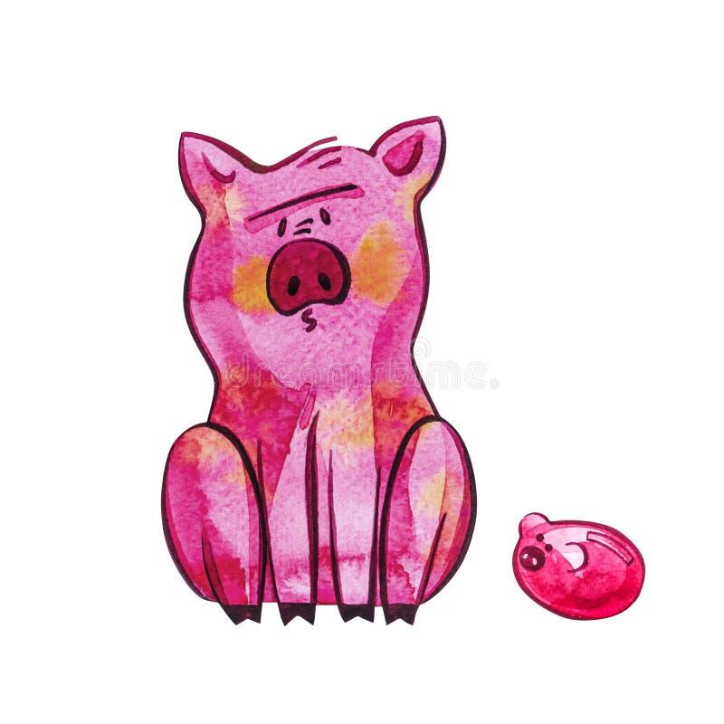 смешная свинья Изолировано на белизне Милая иллюстрация акварели Символ года в китайском календаре бесплатная иллюстрация