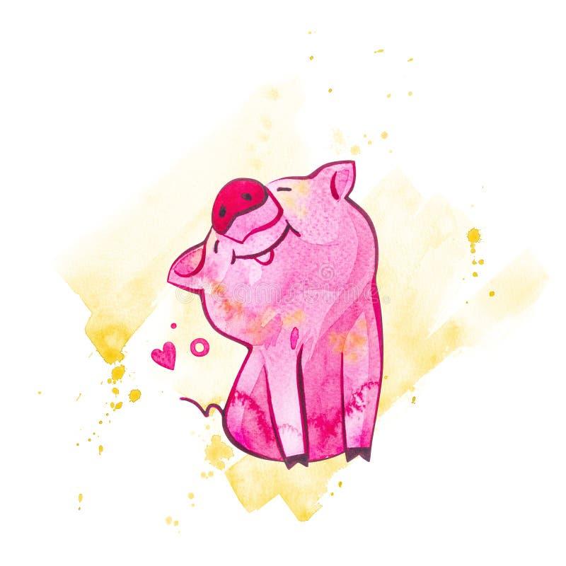 смешная свинья Изолировано на белизне Милая иллюстрация акварели Символ года в китайском календаре иллюстрация вектора