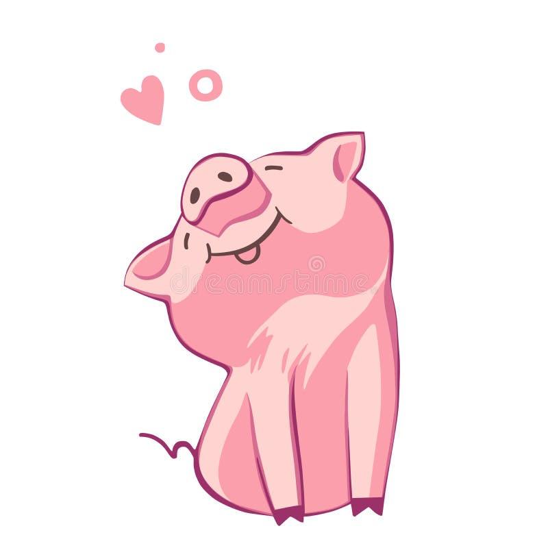 смешная свинья Изолировано на белизне Милая иллюстрация вектора Символ года в китайском календаре бесплатная иллюстрация
