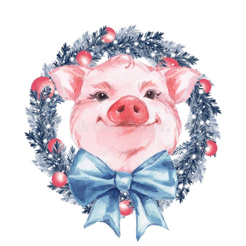Смешная свинья и венок небо klaus santa заморозка рождества карточки мешка бесплатная иллюстрация