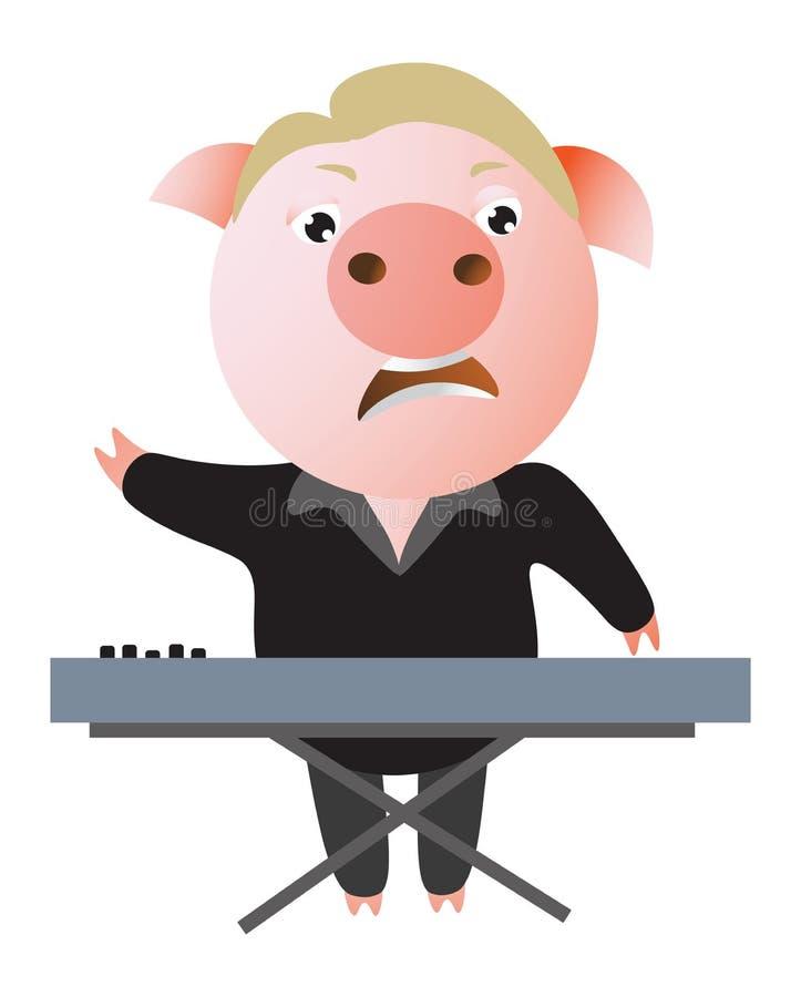 Смешная свинья поет выразительно и играет клавиатуру иллюстрация штока