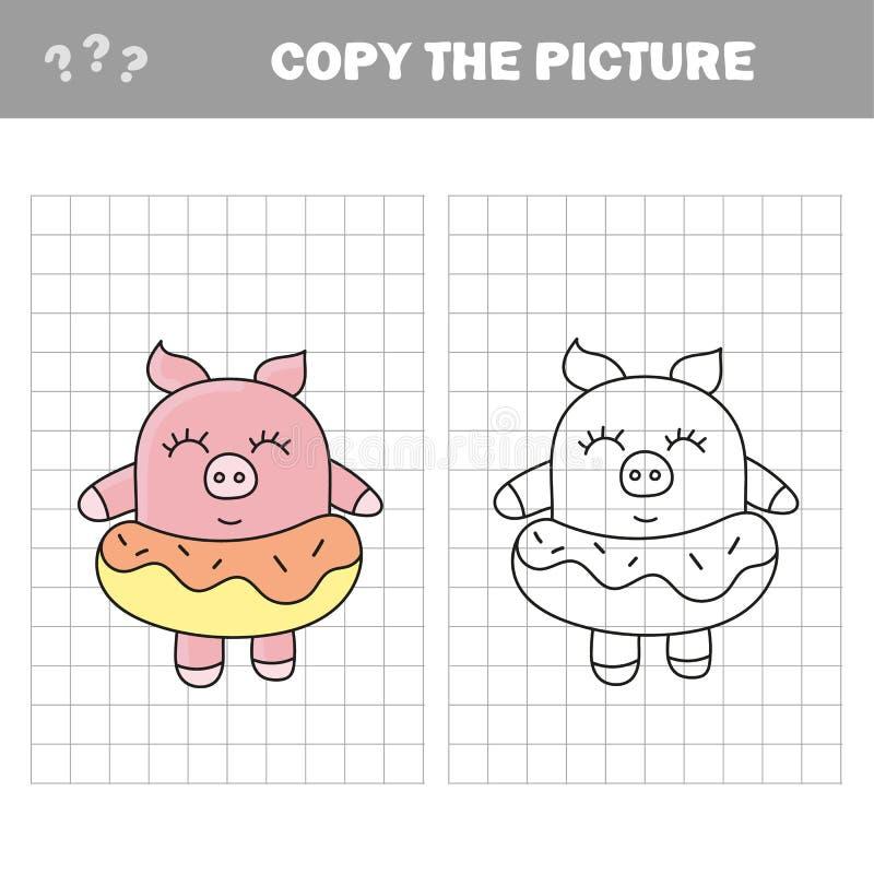 Смешная свинья Скопируйте детей изображения рисуя игру иллюстрация штока