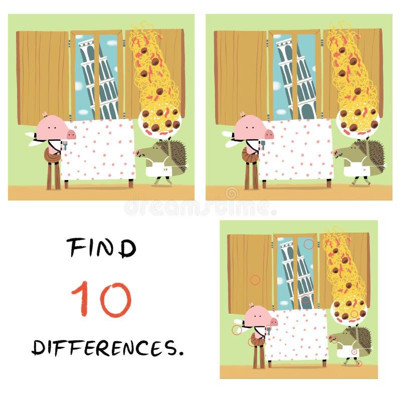 Смешная свинья с иллюстрацией ежа находка 10 разниц иллюстрация штока
