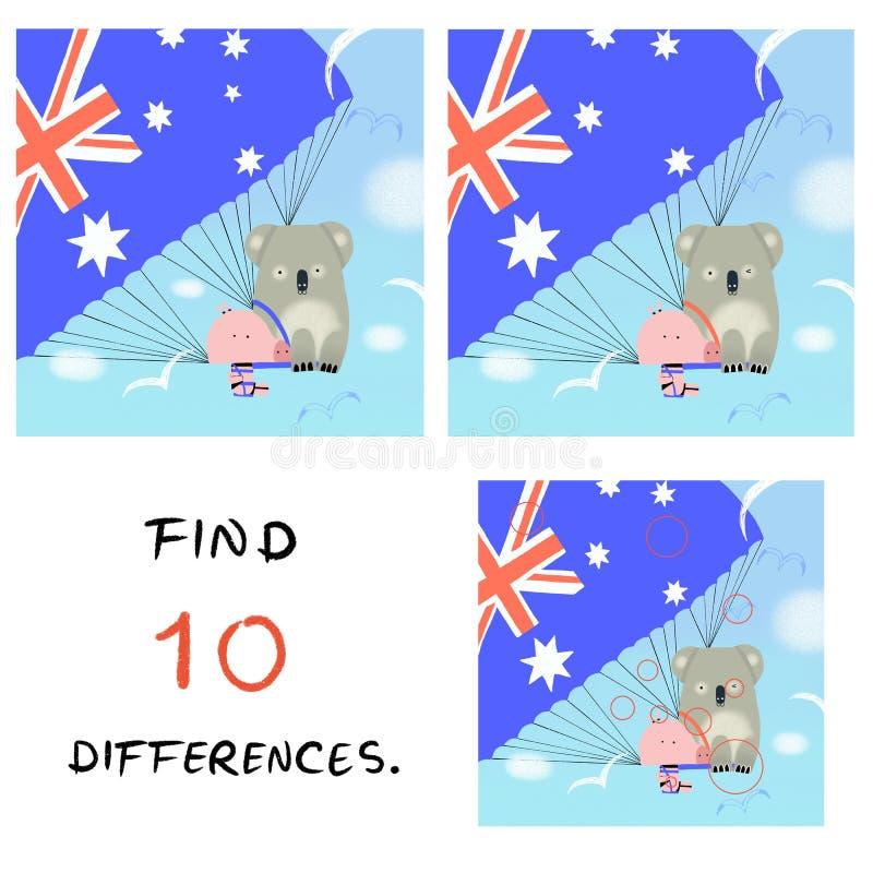 Смешная свинья с иллюстрацией коалы находка 10 разниц бесплатная иллюстрация