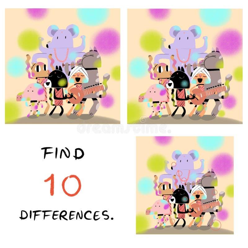 Смешная свинья с иллюстрацией кота находка 10 разниц бесплатная иллюстрация